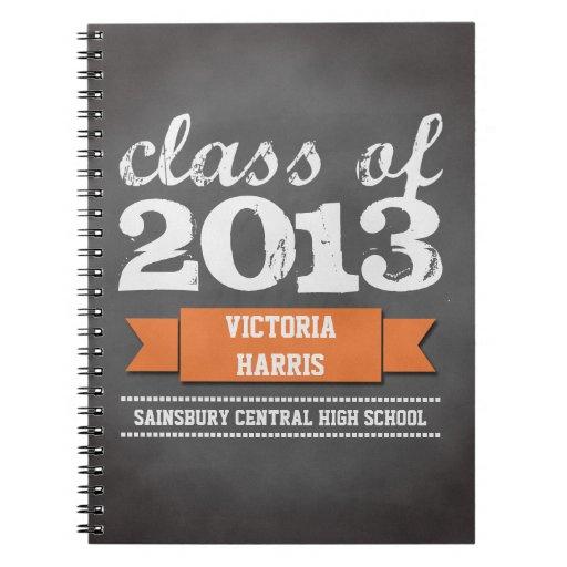Orange ribbon banner chalkboard graduation student journal