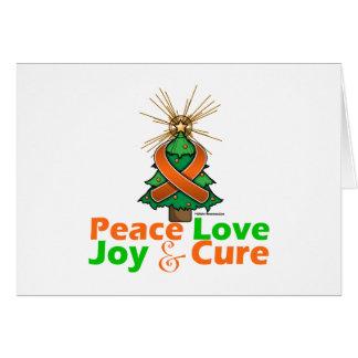 Orange Ribbon Christmas Peace Love, Joy & Cure Greeting Card