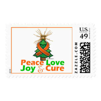 Orange Ribbon Christmas Peace Love, Joy & Cure Postage Stamp