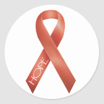 Orange Ribbon Classic Round Sticker