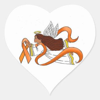 """Orange Ribbon"" Ethnic Awareness Angel Heart Sticker"