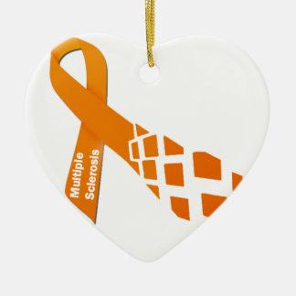 Orange Ribbon for Multiple Sclerosis Ceramic Ornament