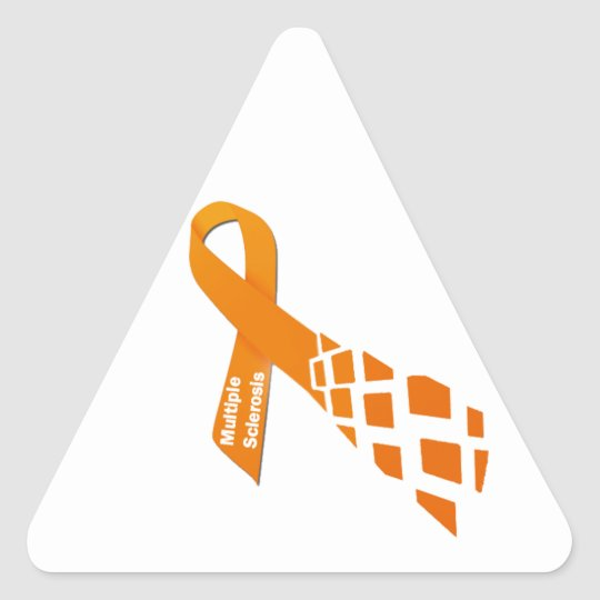 Orange Ribbon for Multiple Sclerosis Triangle Sticker