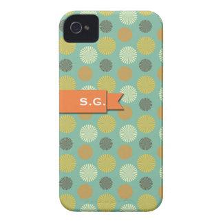 Orange ribbon green round pinwheel pattern initial Case-Mate iPhone 4 case