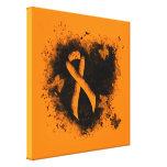 Orange Ribbon Grunge Heart Canvas Print