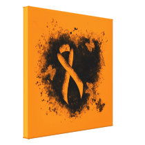 Orange Ribbon Grunge Heart Canvas Print