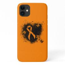 Orange Ribbon Grunge Heart iPhone 11 Case