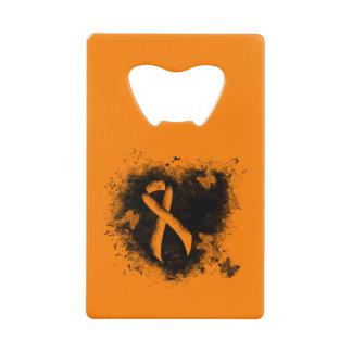 Orange Ribbon Grunge Heart Credit Card Bottle Opener