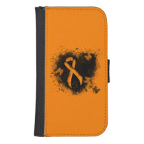 Orange Ribbon Grunge Heart Galaxy S4 Wallet Case