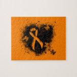 Orange Ribbon Grunge Heart Jigsaw Puzzles