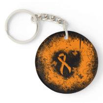 Orange Ribbon Grunge Heart Keychain