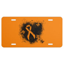 Orange Ribbon Grunge Heart License Plate
