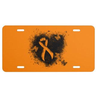 Orange Ribbon Grunge Heart License Plate