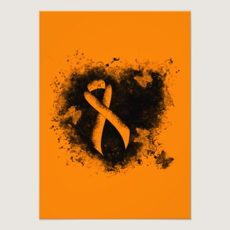 Orange Ribbon Grunge Heart Photo Print