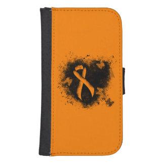 Orange Ribbon Grunge Heart Galaxy S4 Wallet
