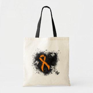 Orange Ribbon Grunge Heart Tote Bag