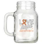 Orange Ribbon Love Hope Awareness Mason Jar