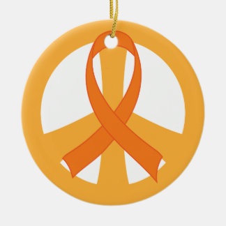 Orange Ribbon Peace Sign Awareness Ornament Gift