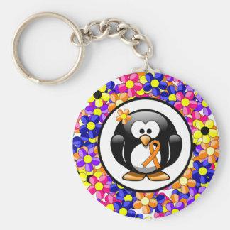 Orange Ribbon Penguin Basic Round Button Keychain
