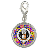 Orange Ribbon Penguin Charm