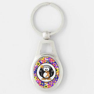 Orange Ribbon Penguin Keychain