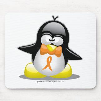 Orange Ribbon Penguin Mouse Pad