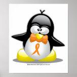 Orange Ribbon Penguin Print