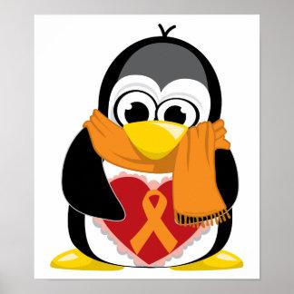 Orange Ribbon Penguin Scarf Poster