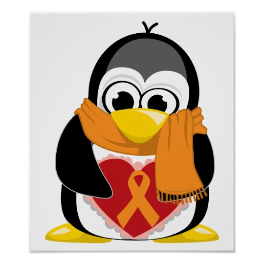 Orange Ribbon Penguin Scarf Poster