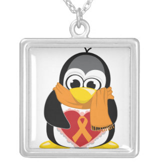 Orange Ribbon Penguin Scarf Silver Plated Necklace