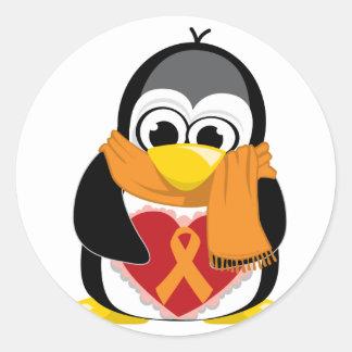 Orange Ribbon Penguin Scarf Stickers