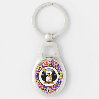 Orange Ribbon Penguin Silver-Colored Oval Metal Keychain