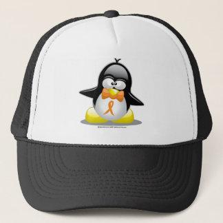 Orange Ribbon Penguin Trucker Hat