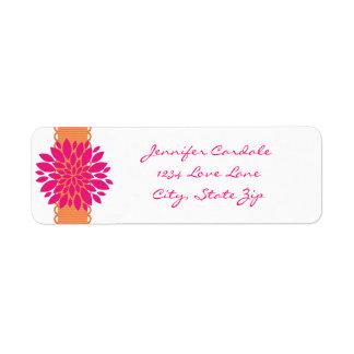 Orange Ribbon Pink Flower Return Address Labels