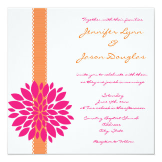 Orange And Pink Wedding Invitations Announcements Zazzle