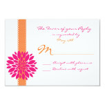 Orange Ribbon Pink Flower Wedding RSVP Reply Cards Personalized Announcements