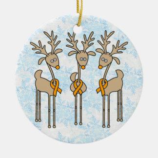 Orange Ribbon Reindeer Ceramic Ornament