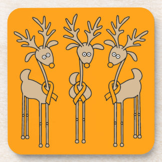 Orange Ribbon Reindeer - Leukemia Beverage Coaster