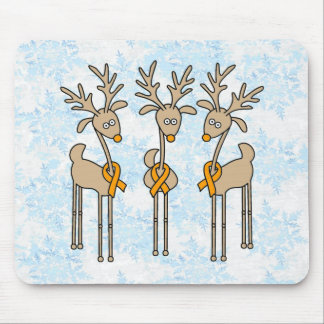 Orange Ribbon Reindeer Mouse Pad