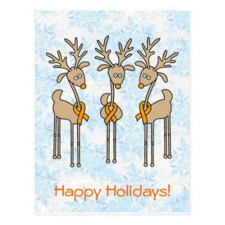 Orange Ribbon Reindeer Postcard