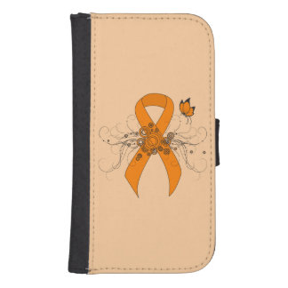 Orange Ribbon with Butterfly Galaxy S4 Wallet Cases