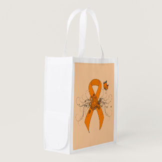 Orange Ribbon with Butterfly Reusable Grocery Bag