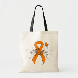 Orange Ribbon with Butterfly Tote Bag