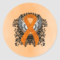 Orange Ribbon with Wings Classic Round Sticker