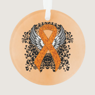 Orange Ribbon with Wings Ornament