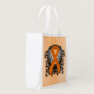 Orange Ribbon with Wings Reusable Grocery Bag