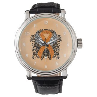Orange Ribbon with Wings Wrist Watch