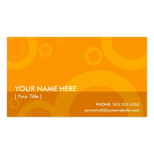 orange rings business card templates