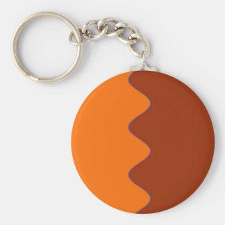 Orange Ripple Design Keychain