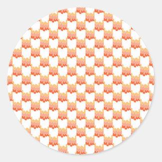 Orange ripple geometric classic round sticker
